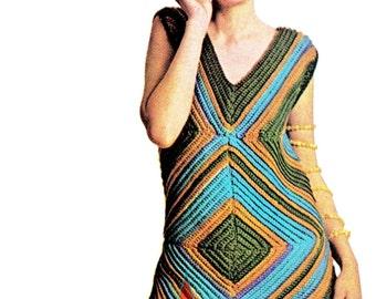 Vintage 60's Crochet MOD Mini Dress PDF Pattern - Instant Download