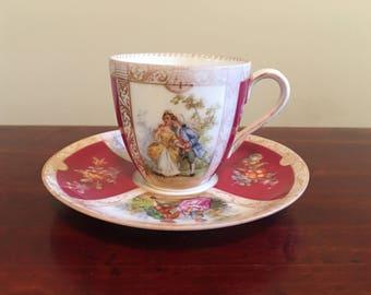 Vintage Dresden Demitasse Cup And Saucer