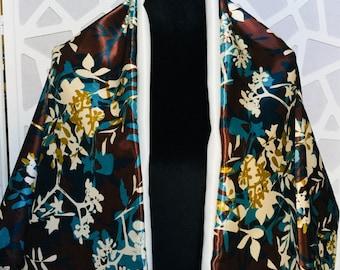 Floral Shawl, Brown Shawl, Flower Shawl, Floral Shawl Wrap, Elegant Shawl, Womens Shawl Or Wrap, Shawl For Women, Evening Shawl, Satin Wrap