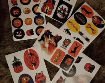 6 Vintage Inspired Haloween Sticker Sheets
