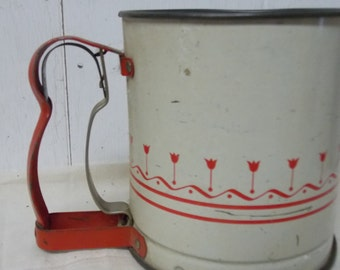 Vintage Retro Kitchen Red & White Tulips Androck Flour Sifer USA Made with Sifting Screen