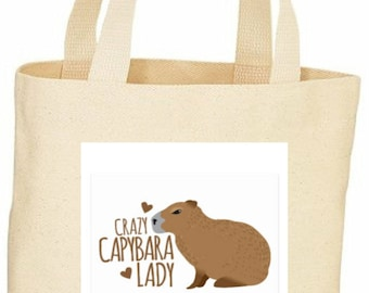 Crazy Capybara Lady custom tote bag