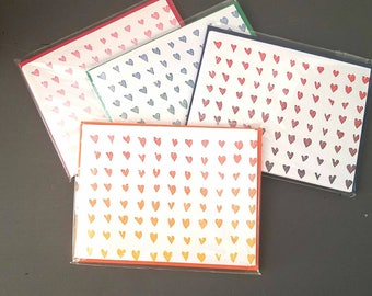 Set of 5 Ombre Hearts Letterpress Printed Card Assorted