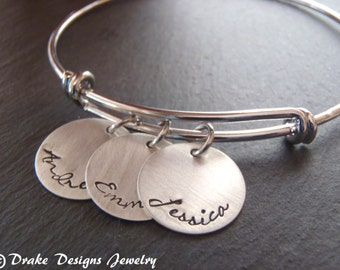 personalized mom bracelet mommy silver adjustable bangle gift for mom birthday gift