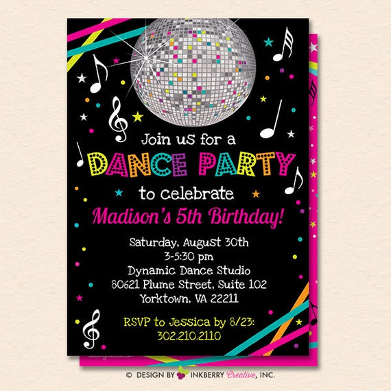 Dance Party Invitation Dance Party Invite Neon Glow Dance