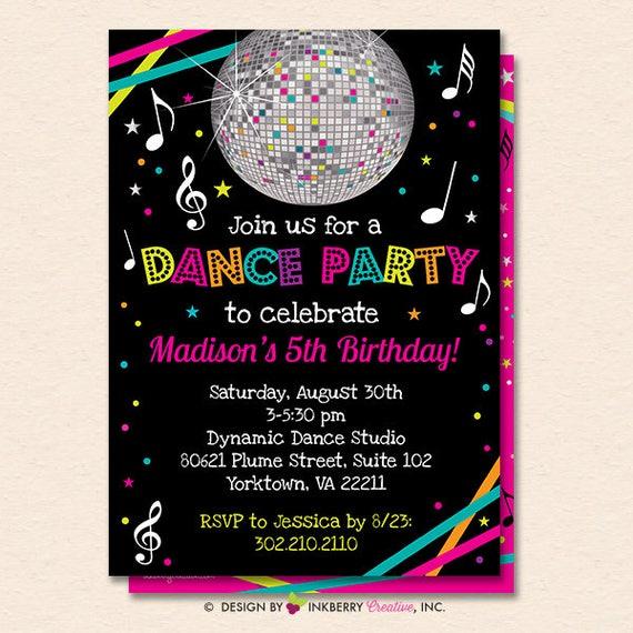 dance party invitation dance party invite neon glow dance