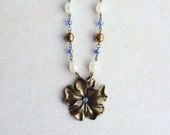Brass Purple Flower Necklace, Crystal Flower Statement Necklace