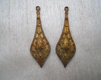 2 Vintage Victorian Brass Drop