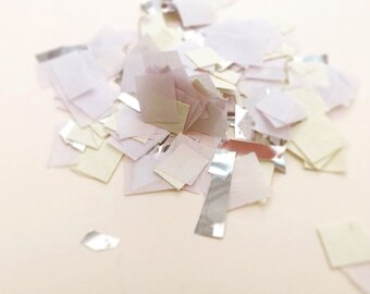 Yellow, white and silver mix confetti, wedding confetti, silver foil and tissue paper, party supplies, lemon