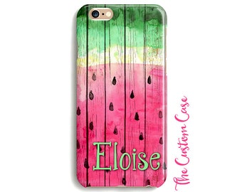 Watermelon IPhone Case, Rustic Watermelon, Your Name Here watermelon Phone Case, Watercolor Watermelon Phone Case, Personalized Phone Case