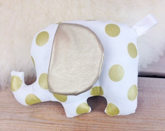 Elephant Plush Toy, Gold Polka Dot with Vegan Leather Ears, Elephant Nursery Stuffed Animal, Baby Shower Gift