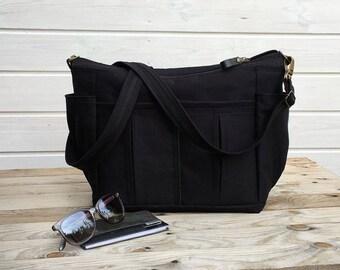 Black Canvas Diaper Bag, Black Camera Bag, Unisex Messenger Cross Body Bag, Overnight carrier, Black Nappy Bag, Christmas gift for men