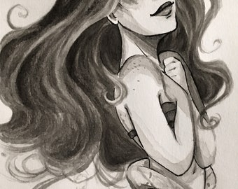 Ariel The Little Mermaid Ink Drawing
