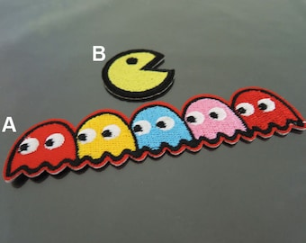 Iron on Patches or Sewing on Patch Pac Man Patch Ghost Patch Embroidered Patch Bombs Embellishment