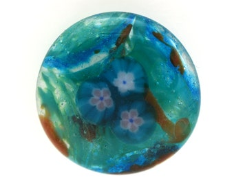 Flower Power Teal Handmade Fused and Cast Glass Cabochon