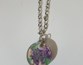 Resin bracelet purple green white fun unique