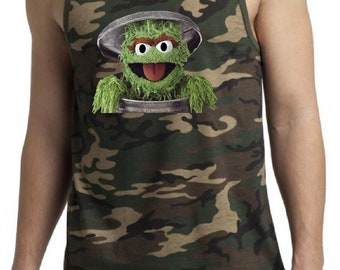 Oscar The Grouch Men's Tank Top -Sesame Street Guy's Graphic Tanks