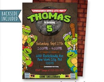 TMNT Invitation, Teenage Mutant Ninja Turtles Invitation, TMNT Birthday Invitation, Leonardo, TMNT Party, Personalized, Printables, Digital