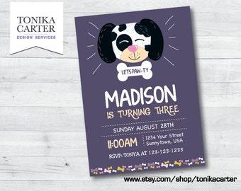Dalmatian Doggy Birthday Invitation (girl)