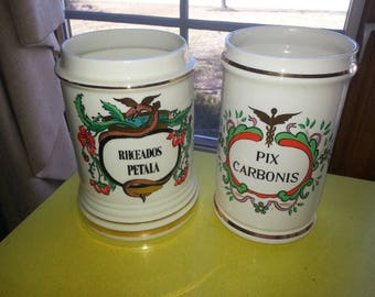 """Vintage PAIR OF TWO Pharmacy Hand Painted Ceramic """"Rhoedos Petala"""" and """"Pix Carbonis"""" Apothecary Jars"""