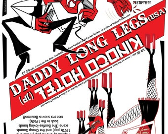 Daddy Long Legs vs Kinoco Hotel A2 gig poster on Heavyweight paper