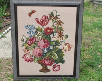 Embroidered floral picture  wall art 1980s cottage charm farmhouse french country embroiderey picture pinks mauve blue green gold white art