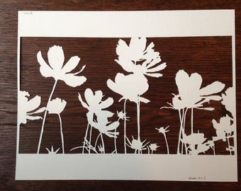 Flowers 6: Cosmos 2 -- Hand-Cut Paper Silhouette of Cosmos