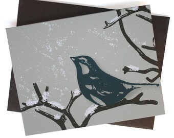 Winter Finch - Set of 8 - bird, branch, snow