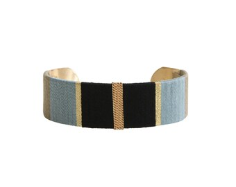 Cuff Bracelet LUCIEN - black, blue and khaki