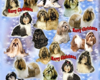 Shih Tzu Dog Christmas Gift Wrapping Paper.