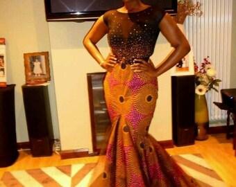 African Skirt, Ankara Mermaid Skirt, Maxi Skirt for Women
