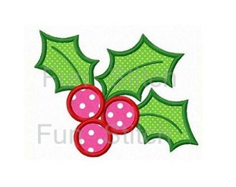 Christmas holly applique machine embroidery design