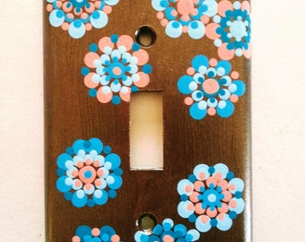 Switch plate cover Mandala, single switch on/off, Chocolate metallic,cool blues, warmer corals