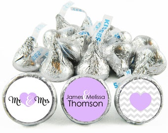 Set of 108 - Mr and Mrs Kiss Stickers for Hershey's Kisses. Wedding Labels for Kiss - Wedding Party Favors - #IDWED712
