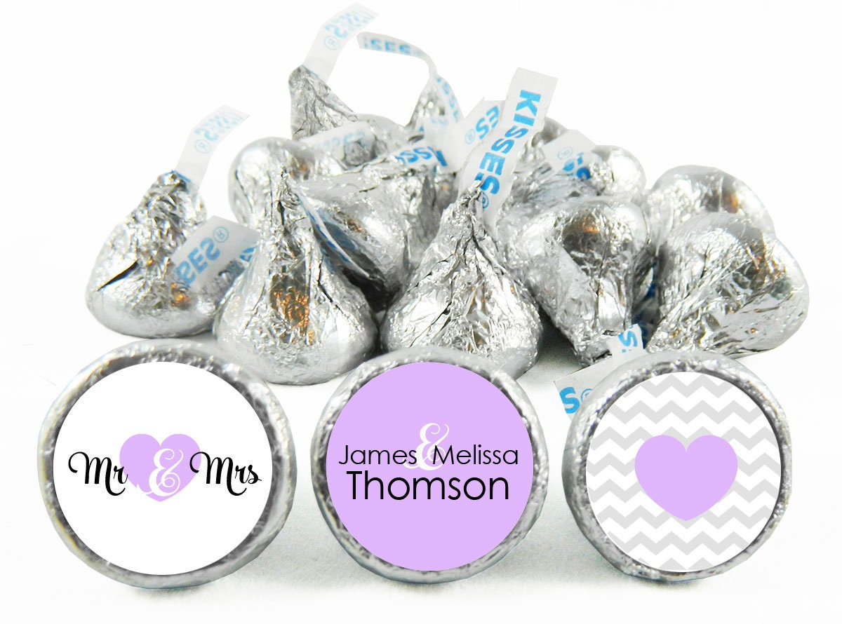 Set of 108 Mr and Mrs Kiss Stickers for Hershey\'s