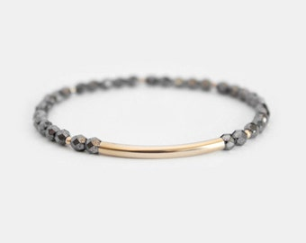 Hematite Beaded Bar Bracelet - Gold Filled or Sterling Silver - Nuelle
