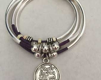 Women Double Wrap Bracelet with Silver Plated Tubes and Charm, Gift for her