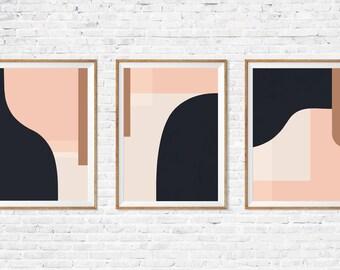 Set of three prints, Set of prints, Abstract art, Geometric wall art, Minimalist art, 3x2, Giclee print, Modern wall decor, Scandinavian art