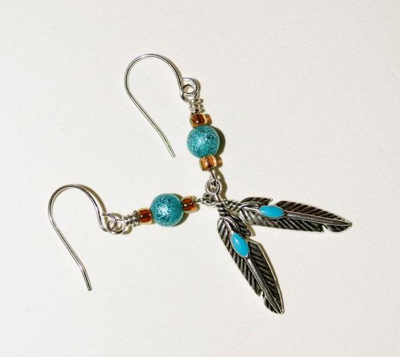 Drop Earrings, Long Boho Feather Earrings, Western Style, Turquoise Earrings, Feather Dangle Earrings, Midwestern Style, Long Boho Earrings