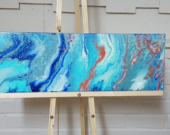 """8""""x24""""Acrylic Pour Painting on Canvas *Blue Springs* Free Shipping in U.S. Only"""
