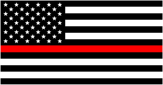 Thin Red Line Decal American Flag Fire Department Red