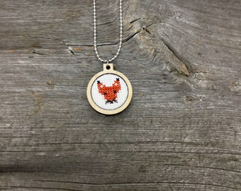 Cross stitch Canadian fox pendant necklace in wood hoop frame