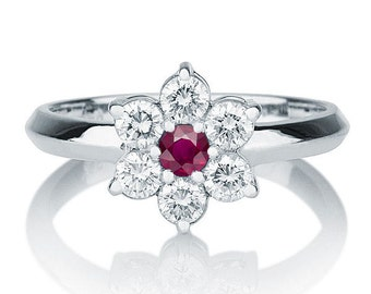 Flower Ruby Ring, 14K White Gold Ruby And Diamonds Ring, 0.55 TCW Ruby Ring , Ruby With Diamonds Engagement Ring, Vintage Flower Ring Ruby