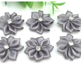 SET of 5 size 2.5 CM grey SATIN flower APPLIQUES