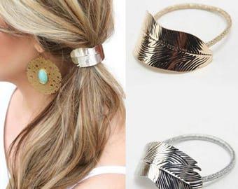 Leaf Hair tie   Metal Hair accessory   FREE GIFT WRAP