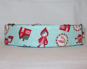 Red Riding Hood Martingale Dog Collar - 1.5 or 2 Inch - red white aqua blue wolf story fairy tale picnic