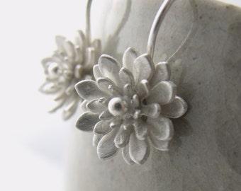 Peony earrings, handmade in fine silver