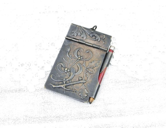Antique Silver Plated Metal Pendant Note Pad Cover with Pencil Mistletoe, Oak Leaves and Flower Pattern From Lourdes in France, NoteBook