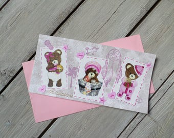 "Congratulations card or birthday tripled ""3 little princesses"""
