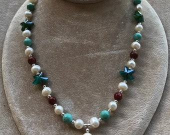 Turquoise, Freshwater Pearl and Red Sponge Coral Necklace/Bracelet & Earrings Set